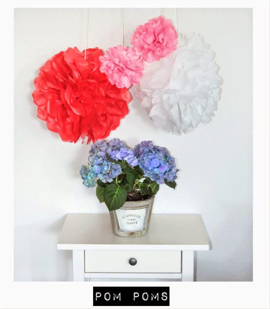 anleitung diy pom poms aus seidenpapier zum selbermachen. Black Bedroom Furniture Sets. Home Design Ideas