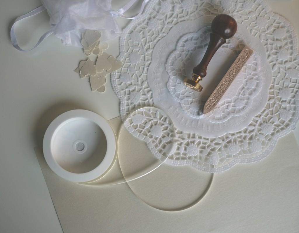 Vintage Hochzeitseinladung Materialien
