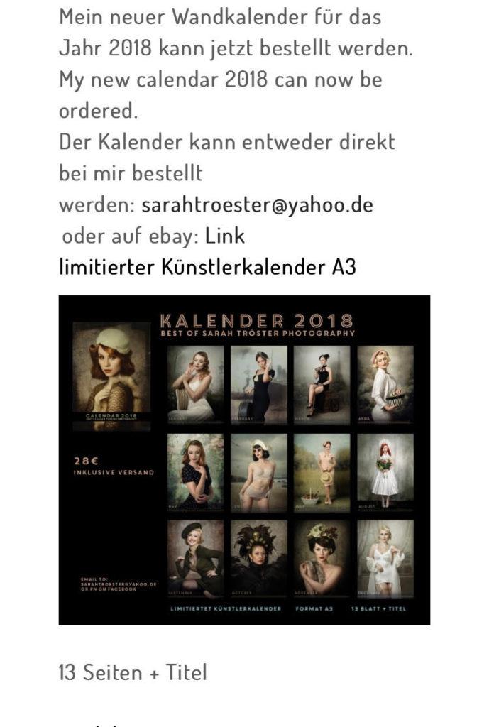 Sarah Tröster Photography Kalender